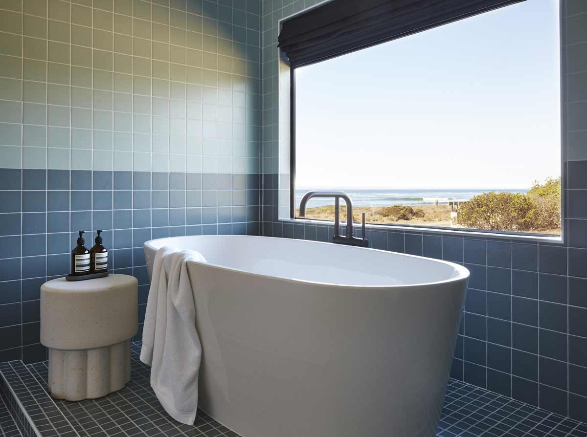guest room bathtub with ocean view