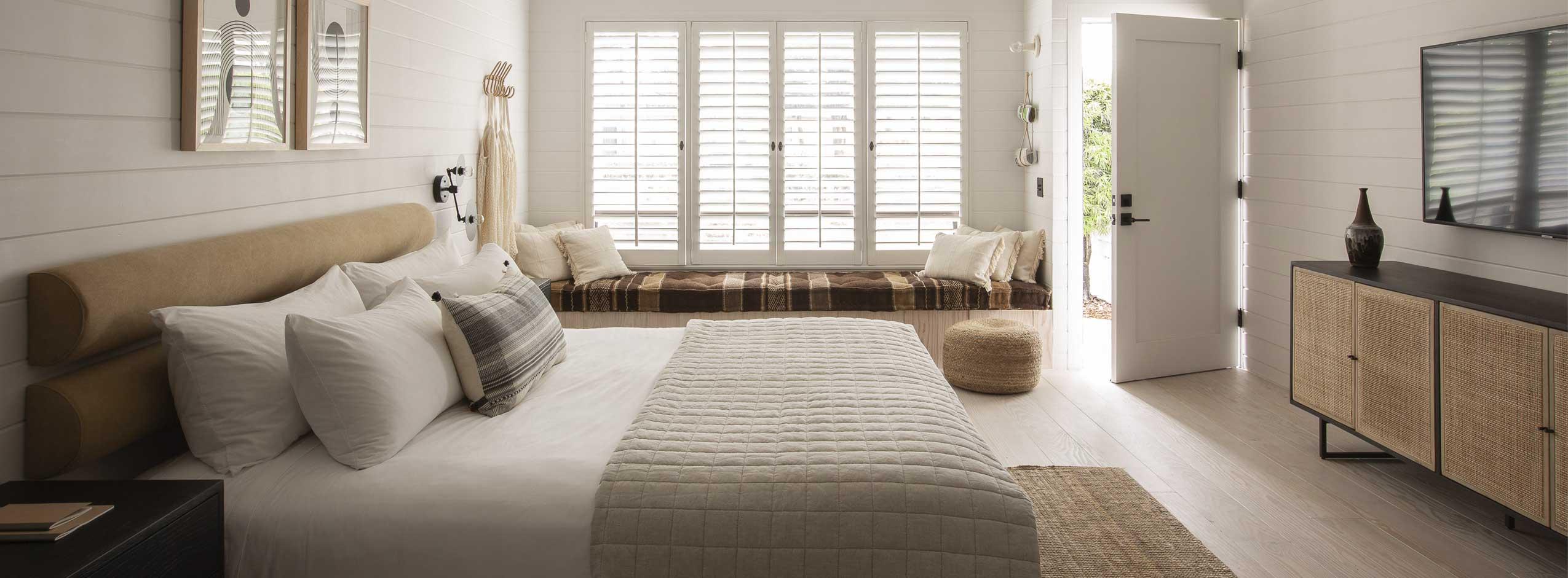 king bed, dresser, television