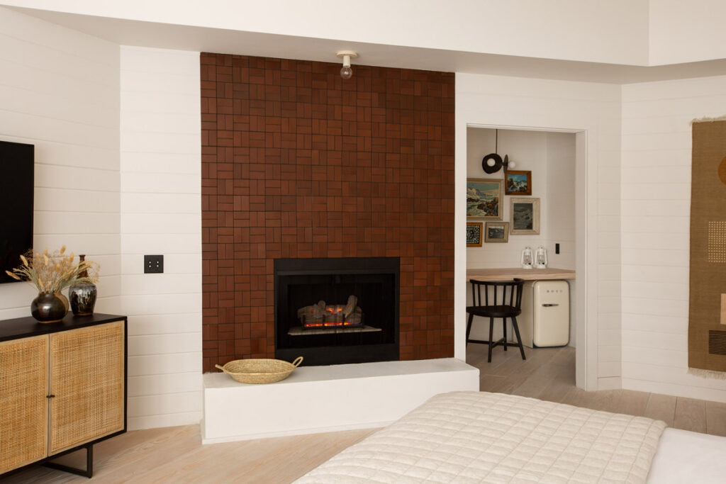 guest room fireplace